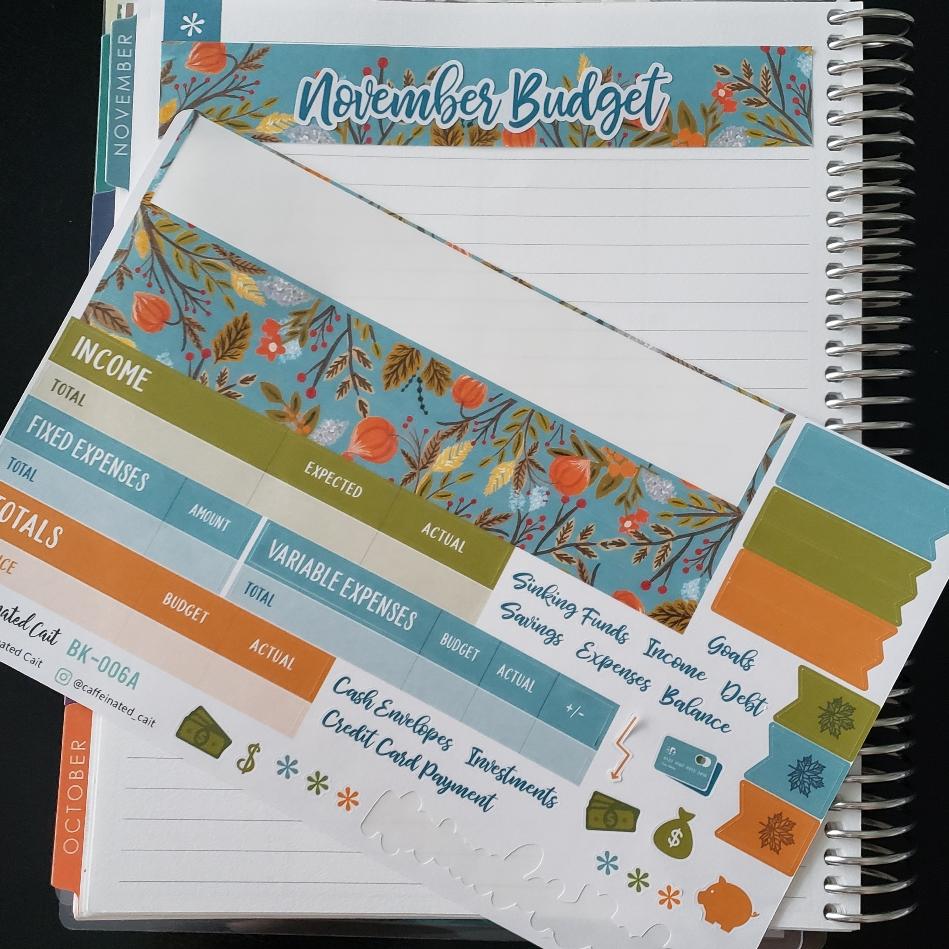 Nov 2018 Budget Sticker Kit for Erin Condren Deluxe Monthly Planner