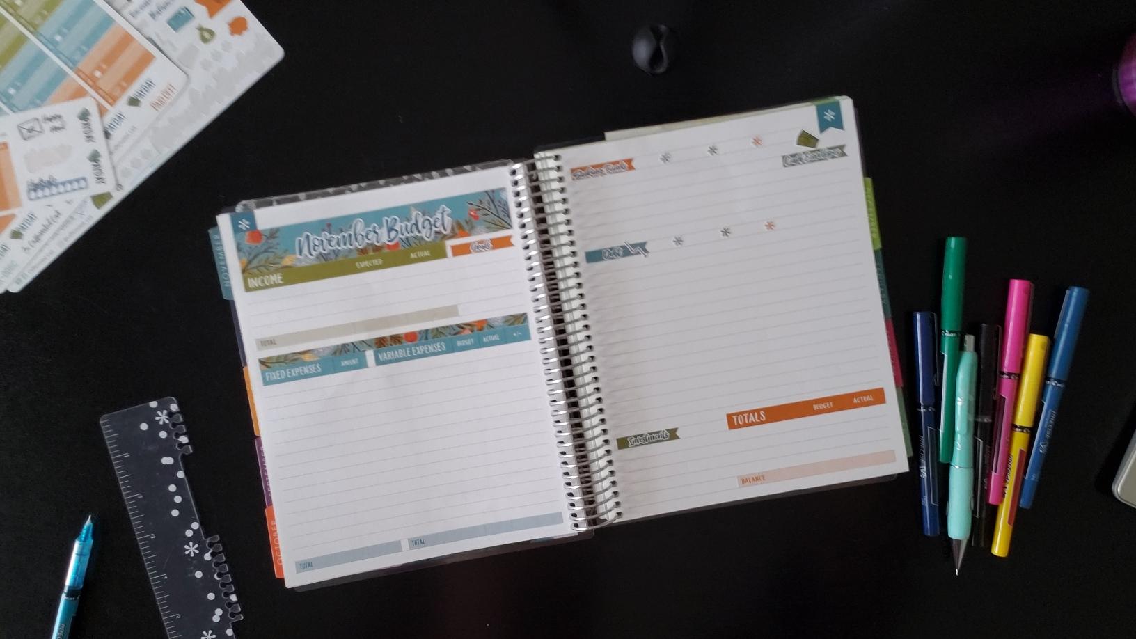 Layout for Nov 2018 Budget Sticker Kit for Erin Condren Deluxe Monthly Planner
